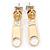 Small Gold Tone Metal Zipper Stud Earrings - 25mm Length - view 2