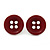 Small Dark Red Plastic Button Stud Earrings (Silver Tone) -11mm Diameter - view 2
