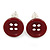 Small Dark Red Plastic Button Stud Earrings (Silver Tone) -11mm Diameter - view 5
