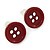 Small Dark Red Plastic Button Stud Earrings (Silver Tone) -11mm Diameter