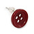 Small Dark Red Plastic Button Stud Earrings (Silver Tone) -11mm Diameter - view 3