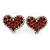 Red Crystal Heart Stud Earrings In Silver Tone - 15mm W