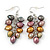 Grey, Bronze, Purple Freshwater Pearl Grape Drop Earrings In Silver Tone - 50mm L