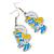 White/ Blue/ Yellow Enamel Funky Smurfette Cartoon Drop Earrings In Silver Tone - 48mm L - view 5