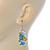 White/ Blue/ Yellow Enamel Funky Smurfette Cartoon Drop Earrings In Silver Tone - 48mm L - view 3