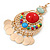 Multicoloured Acrylic Bead Chandelier Earrings In Gold Plating - 80mm L - view 3
