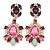 Statement Multicoloured Acrylic, Crystal Bead Chandelier Earrings In Gold Tone - 75mm L