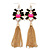 Long Black/ Pink/ Clear Acrylic Bead Tassel Earrings In Gold Tone - 13cm L - view 6