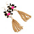 Long Black/ Pink/ Clear Acrylic Bead Tassel Earrings In Gold Tone - 13cm L