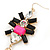 Long Black/ Pink/ Clear Acrylic Bead Tassel Earrings In Gold Tone - 13cm L - view 3