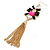 Long Black/ Pink/ Clear Acrylic Bead Tassel Earrings In Gold Tone - 13cm L - view 5