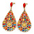Oversized Multicoloured Acrylic Bead Teardrop Earrings In Gold Tone - 90mm L - view 5
