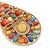 Oversized Multicoloured Acrylic Bead Teardrop Earrings In Gold Tone - 90mm L - view 3