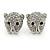 Clear Austrian Crystal Tiger Stud Earrings In Rhodium Plating - 17mm L
