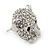 Clear Austrian Crystal Tiger Stud Earrings In Rhodium Plating - 17mm L - view 6