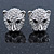 Clear Austrian Crystal Tiger Stud Earrings In Rhodium Plating - 17mm L - view 3