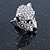 Clear Austrian Crystal Tiger Stud Earrings In Rhodium Plating - 17mm L - view 8