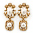 Vintage Inspired Lion Pearl Drop Earrings In Gold Tone - 45mm L