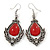 Victorian Style Red Glass, Hematite Crystal Drop Earrings In Silver Tone - 55mm L