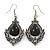 Victorian Style Black Glass, Hematite Crystal Drop Earrings In Silver Tone - 55mm L