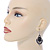 Victorian Style Black Glass, Hematite Crystal Drop Earrings In Silver Tone - 55mm L - view 2