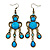 Victorian Style Blue Acrylic Bead Chandelier Earrings In Antique Gold Tone - 80mm L - view 1