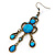 Victorian Style Blue Acrylic Bead Chandelier Earrings In Antique Gold Tone - 80mm L - view 6