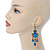 Victorian Style Blue Acrylic Bead Chandelier Earrings In Antique Gold Tone - 80mm L - view 2