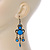 Victorian Style Blue Acrylic Bead Chandelier Earrings In Antique Gold Tone - 80mm L - view 7