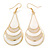 White Enamel With Glitter Teardrop Earrings In Gold Tone - 65mm L