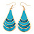 Teal Enamel With Glitter Teardrop Earrings In Gold Tone - 65mm L