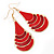 Red Enamel With Glitter Teardrop Earrings In Gold Tone - 65mm L - view 6