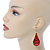 Red Enamel With Glitter Teardrop Earrings In Gold Tone - 65mm L - view 2