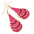 Pink Enamel With Glitter Teardrop Earrings In Gold Tone - 65mm L