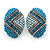 Boho Style Blue/ Teal/ Light Blue Beaded Oval Stud Earrings In Silver Tone - 25mm L - view 8