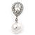 Bridal Wedding Prom Glass Pearl, Crystal Teardrop Earrings In Rhodium Plating - 30mm L - view 6