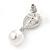 Bridal Wedding Prom Glass Pearl, Crystal Teardrop Earrings In Rhodium Plating - 30mm L - view 3