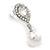 Bridal Wedding Prom Glass Pearl, Crystal Teardrop Earrings In Rhodium Plating - 30mm L - view 4