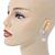 Bridal Wedding Prom Glass Pearl, Crystal Teardrop Earrings In Rhodium Plating - 30mm L - view 2