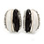 C Shape Black/ White Acrylic, Clear Crystal Stud Earrings In Silver Tone - 20mm