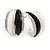 C Shape Black/ White Acrylic, Clear Crystal Stud Earrings In Silver Tone - 20mm - view 6