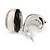 C Shape Black/ White Acrylic, Clear Crystal Stud Earrings In Silver Tone - 20mm - view 3
