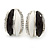 C Shape Black/ White Acrylic, Clear Crystal Stud Earrings In Silver Tone - 20mm - view 7