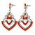 Orange Acrylic Bead, Clear Crystal Chandelier Earrings In Silver Tone - 60mm L - view 7