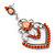 Orange Acrylic Bead, Clear Crystal Chandelier Earrings In Silver Tone - 60mm L - view 5