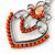 Orange Acrylic Bead, Clear Crystal Chandelier Earrings In Silver Tone - 60mm L - view 3