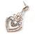 Orange Acrylic Bead, Clear Crystal Chandelier Earrings In Silver Tone - 60mm L - view 4