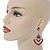Orange Acrylic Bead, Clear Crystal Chandelier Earrings In Silver Tone - 60mm L - view 2