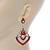 Orange Acrylic Bead, Clear Crystal Chandelier Earrings In Silver Tone - 60mm L - view 6
