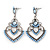 Light Blue Acrylic Bead, Clear Crystal Chandelier Earrings In Silver Tone - 60mm L - view 6